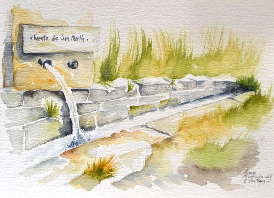 """A l'aquarelle, fontaine en pierres taillées. Elle est tout en longueur comme un vieil abreuvoir. L'eau sort par un des deux tuyaux d'écoulement. Au dessus est écrit """"fuente de San Martin"""""""