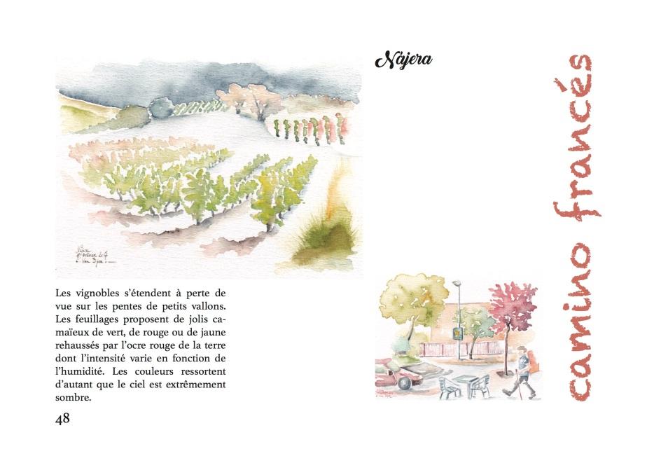Carnet d'Aquarelles, page 48, les deux aquarelles de Najera